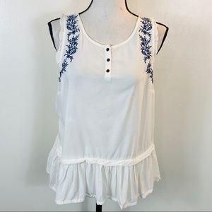 LC lauren Conrad Sleeveless floral Embroidered top